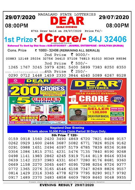 Nagaland State Lotteries 29-07-2020 Lottery Sambad Result 8;00 PM