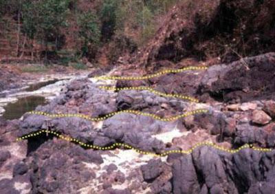 Aliran lava bagian dari fasies proksimal Gunungkidul