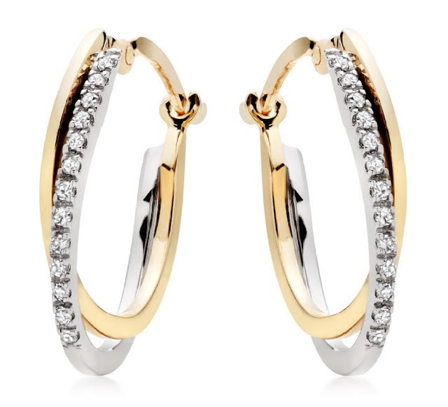Yellow and White Gold Hoop Earrings