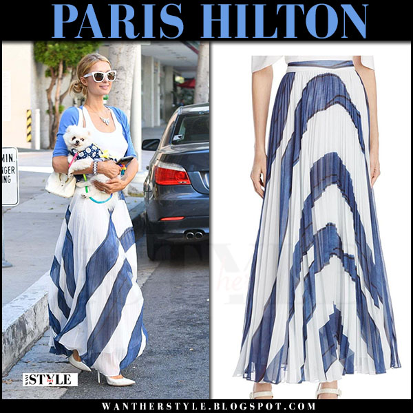 Paris Hilton in white top and white and blue striped pleated maxi skirt alice olivia shannon what she wore june 26 2017 designer identifier