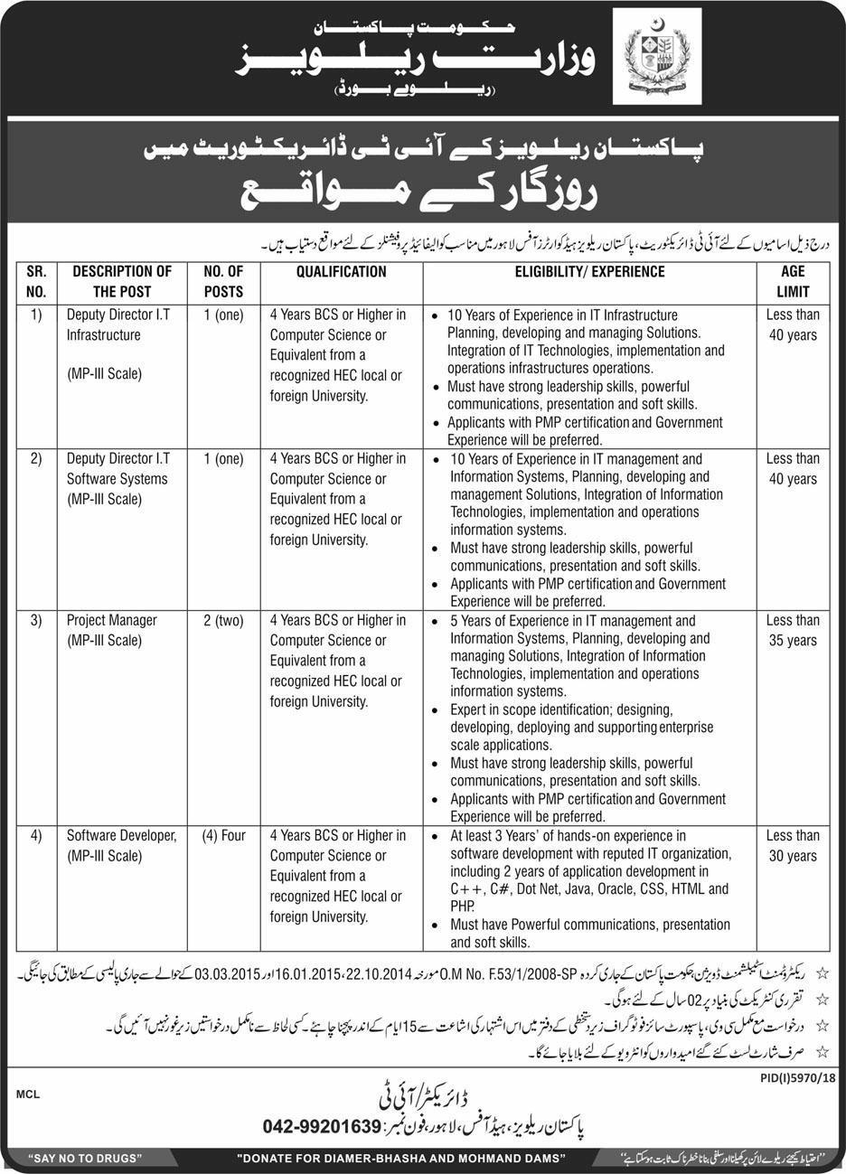 Pakistan Railways Jobs 2019 for Headquarters Office IT