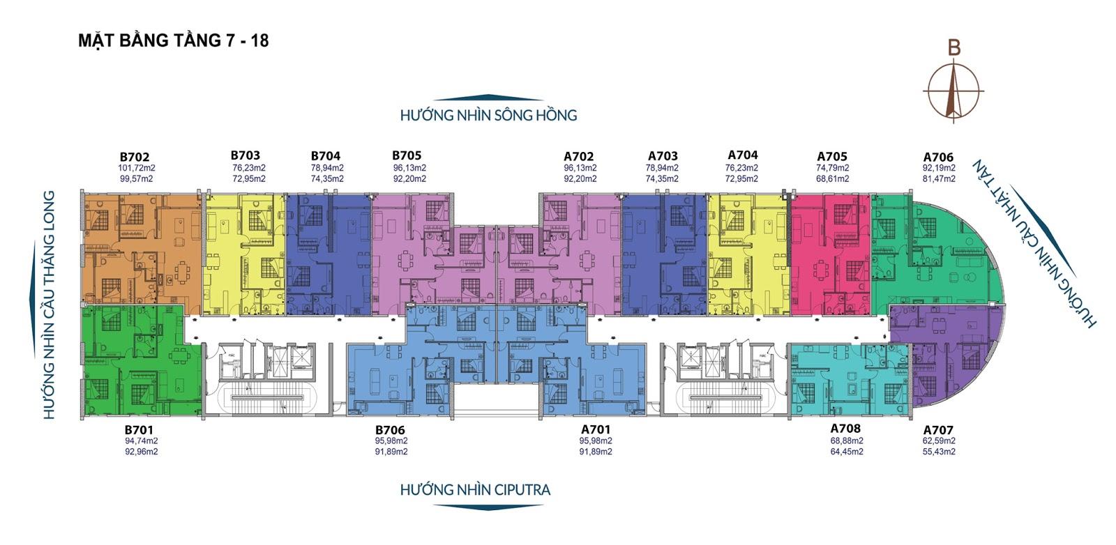 Mặt bằng căn hộ tầng 7 - 18