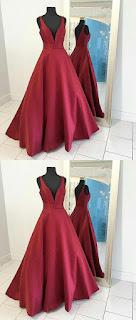Gorgeous deep V neck long Prom dress