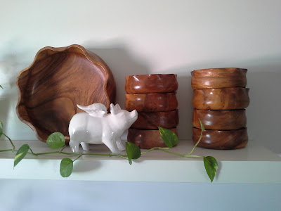 flying pig wooden bowls