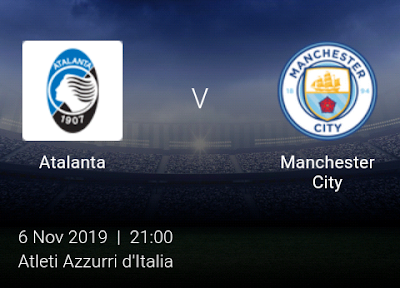 LIVE MATCH: Atalanta Vs Manchester City UEFA Champions League 06/11/2019