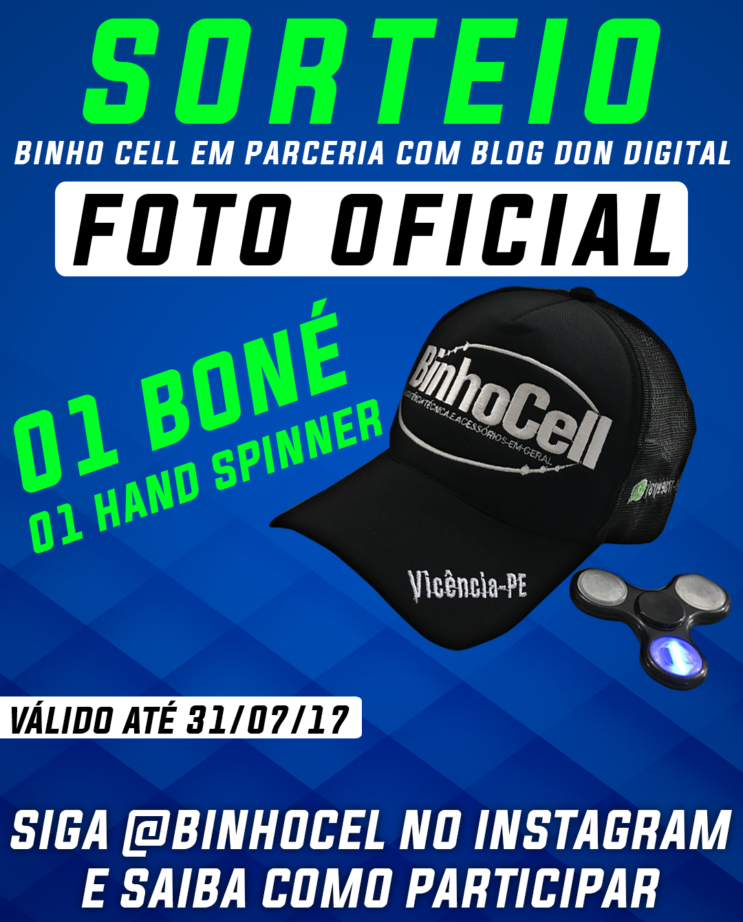 SORTEIO - 01 Hand Spinner com Som Bluetooth e Led e 01 Boné Personalizado  da Loja Binho Cell d6a1460019e