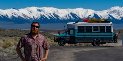 WhereIsBaer.com Chris Baer van bus shoolie conversion baermobile bus life, mountains snow capped motorcycle beard, pearl snap Chris Baer scenery landscape colorado utah CO UT