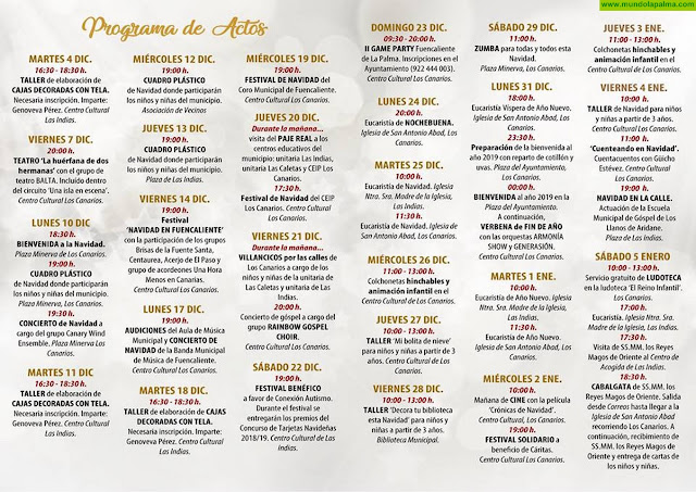Programa de Navidad 2018-19 Fuencaliente de La Palma