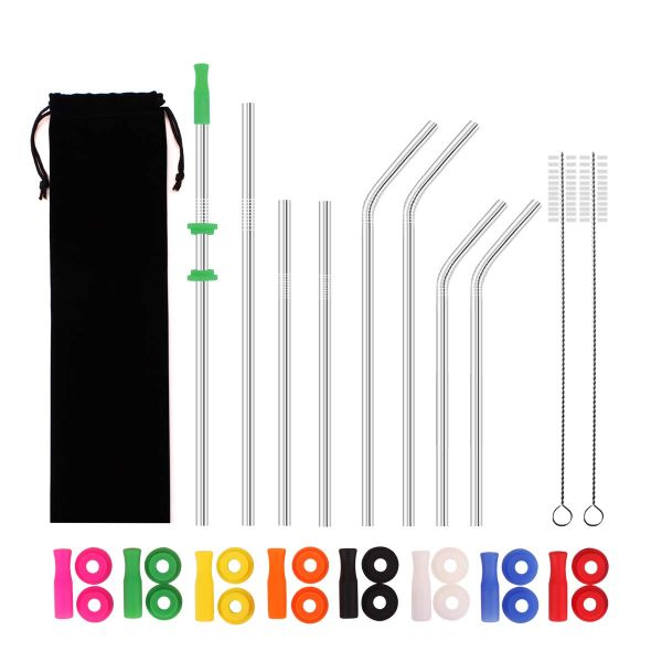 Stainless steel drinking straws with silicone colored tips and silencers and cleaning brushes