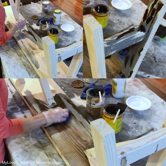 Finishing bench with combined stain technique