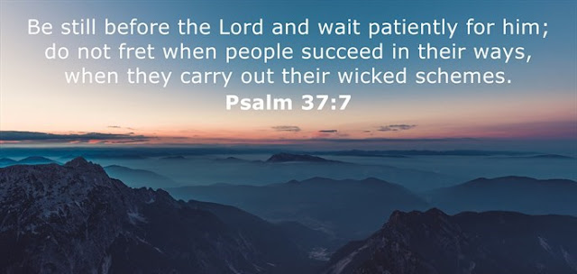 Be still before the Lord and wait patiently for him; do not fret when people succeed in their ways, when they carry out their wicked schemes.