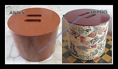 reciclagem; recuperando balde de gelo; decoupagem; decoupage