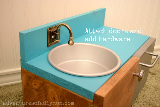 attach doors and hardware - diy doll sink