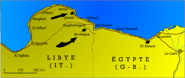 Carte du nord de la Lybie et de l'Egypte pendant la bataille de Bir Hakeim