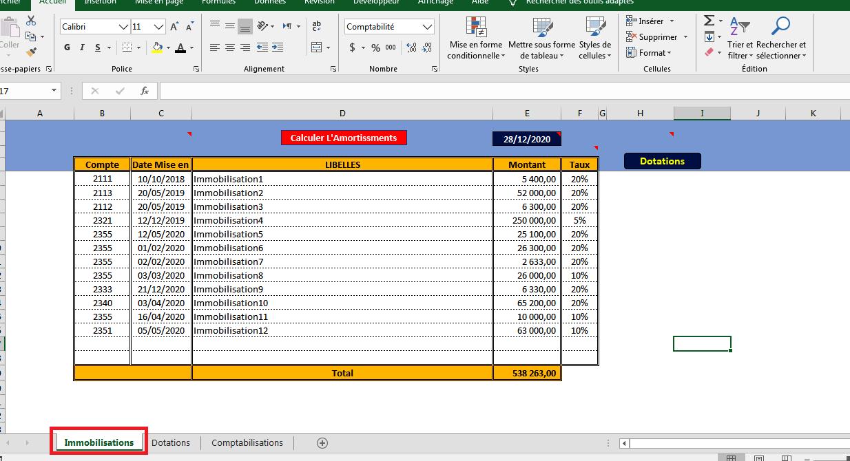 Application Excel Pour Calculer Les Amortissements Et Donner Les Ecritures Comptables
