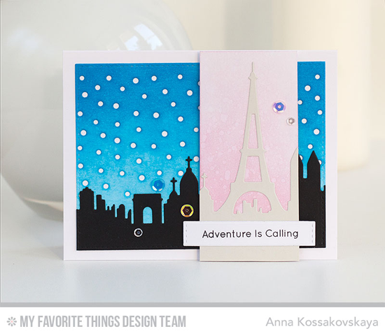 Handmade card from Anna Kossakovskaya featuring Birdie Brown Adventure is Calling stamp set and Paris Skyline, Snowfall - Horizontal, and Blueprints 29 Die-namics #mftstamps