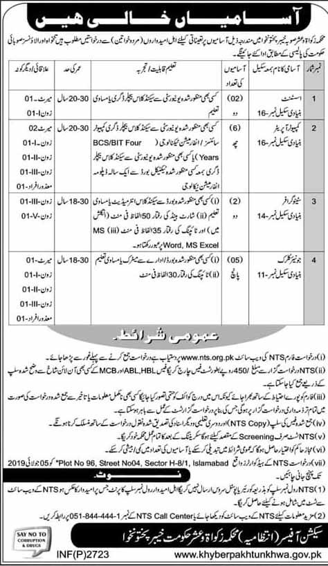 Jobs in Zakat and Ushr Department KPK Through NTS