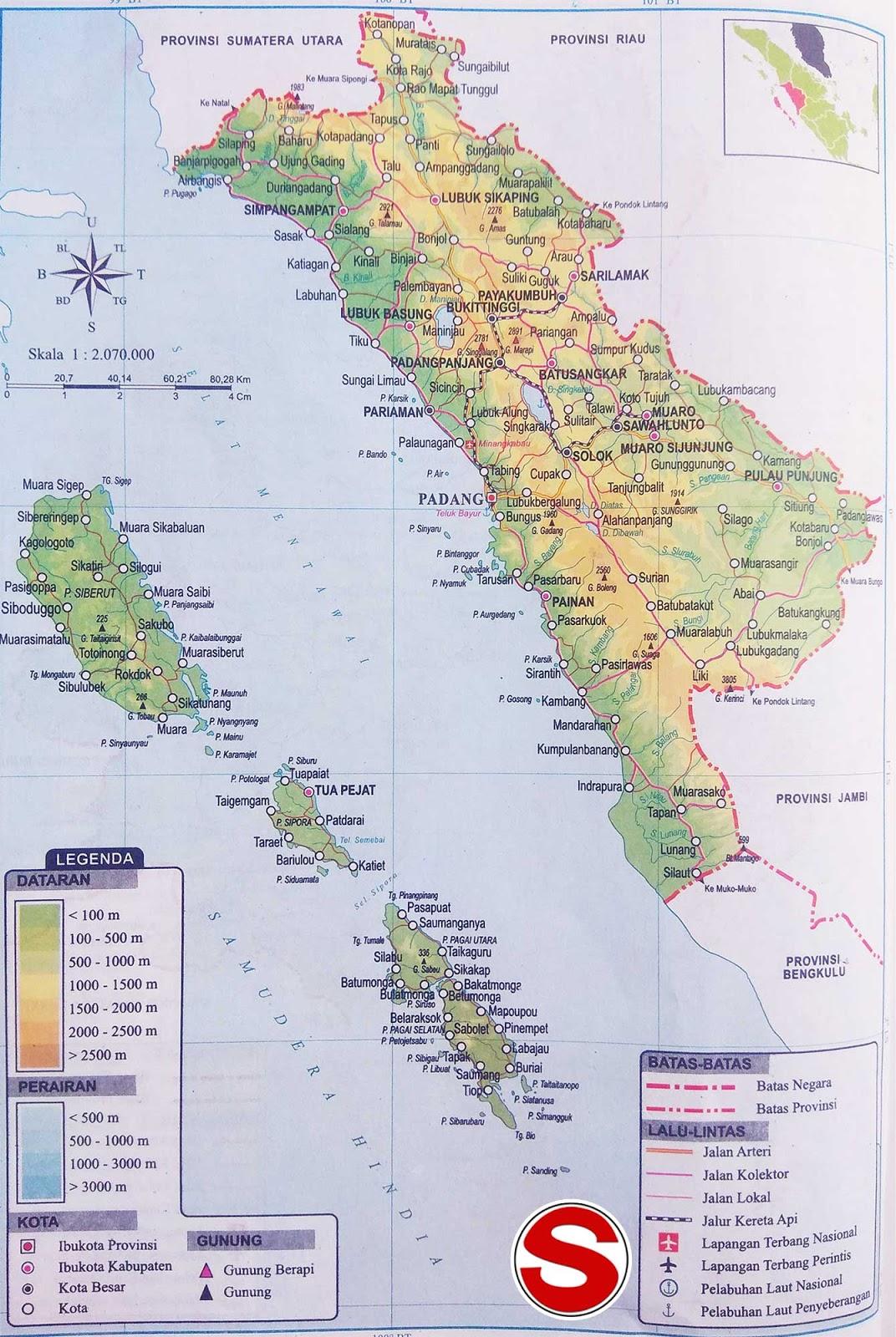 Peta Sumatera Barat di bawah ini mencakup peta dataran Peta Provinsi Sumatera Barat Lengkap Penjelasannya