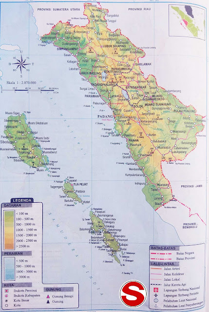 Gambar Peta Provinsi Sumatera Barat Lengkap Penjelasannya