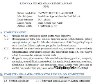 RPP PAI Kelas 9 SMP/MTs Kurikulum 2013 Revisi 2019