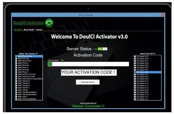 DoulCi Activator 2018 to Bypass iCloud Activation Lock 100