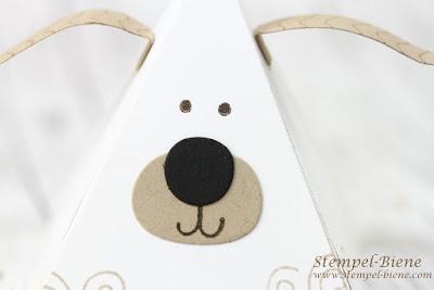 stampinup playful pals; stampinup Pyramidenfiguren; Anleitung Hundebox; Hundebox basteln; Einladungsbox Kindergeburtstag; stempel-biene; stampin up Katalog