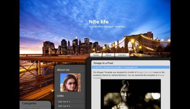 FREE Night Life Black Web 2.0 Blogger Template