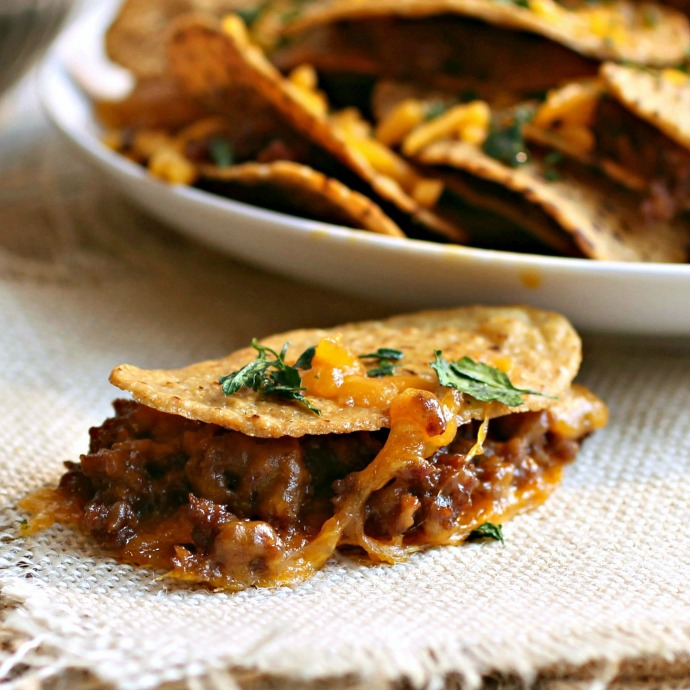 Recipe for sausage and cheese nacho sandwiches.