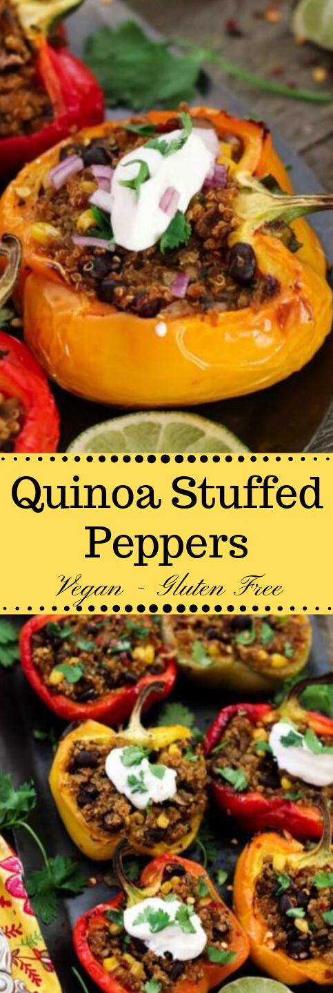 SANTA FE QUINOA STUFFED PEPPERS #vegetarian #vegan #cauliflower #salad #quinoa