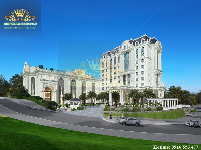 Hình ảnh: Địa hình dốc thoải được sử dụng hợp lý không làm lộ nhược điểm vị trí của khuôn viên đất xây dựng khách sạn nhà hàng 4 sao