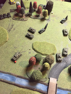 The T-34s are forced back by the Panther attack