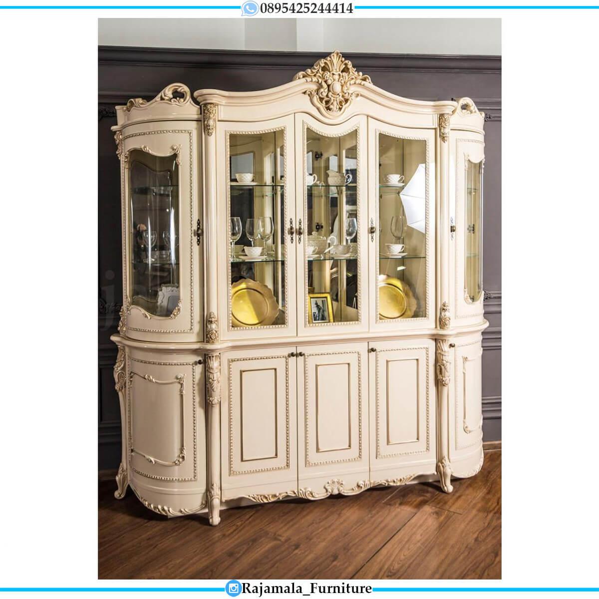 Desain Lemari Hias Mewah Luxury Carving Crown Style Furniture Jepara RM-0565