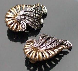 Kigu clip on earrings in marcasite and gold plating