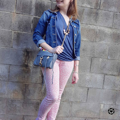 awayfromblue Instagram  | pink and blue skinny leopard print jeans outfit with wrap top matching accessories