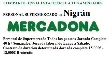 Nigrán, Pontevedra. Lanzadera de Empleo Virtual. Oferta Mercadona