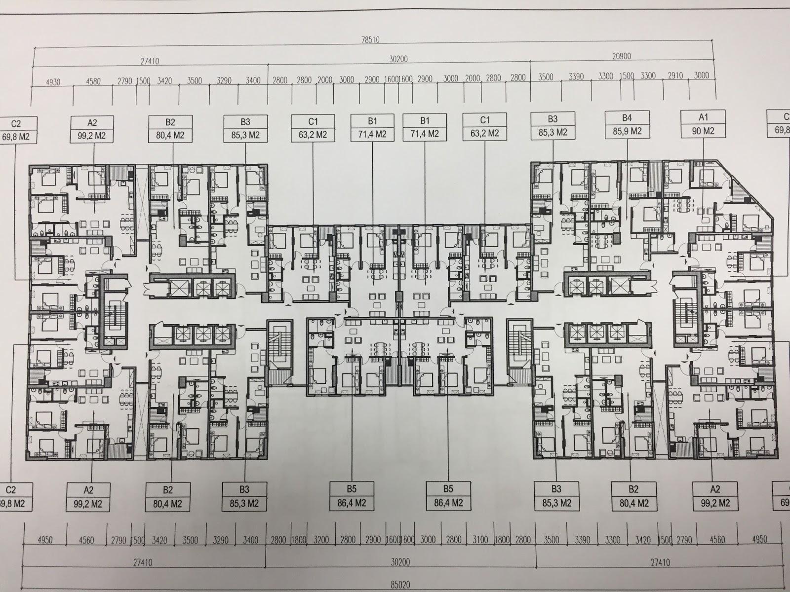 Mặt bằng tầng điển hình tòa CT4 dự án chung cư Udic Westlake