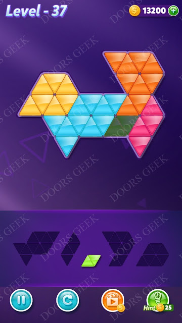 Block! Triangle Puzzle 5 Mania Level 37 Solution, Cheats, Walkthrough for Android, iPhone, iPad and iPod