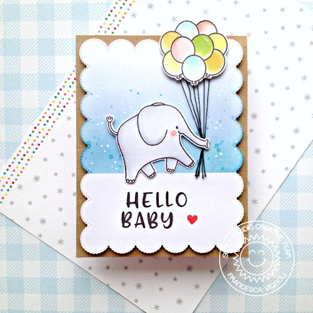 Sunny Studio Stamps: Savanna Safari Floating By Phoebe Alphabet Frilly Frame Dies Baby Card by Franci Vignoli