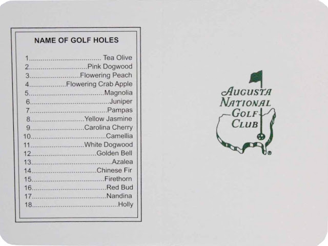 Augusta National scorecard front and back covers