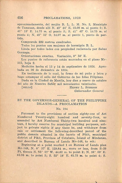 Proclamation No 193 s. 1928 Spanish version, continued.