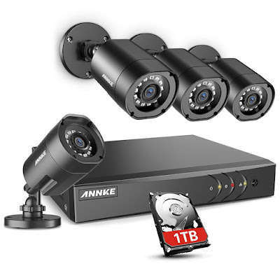 ANNKE 8CH H.264+Security Camera System with 1TB Hard Drive, 4pcs 1080P 1920TVL Wired CCTV Cameras, IP66 Weatherproof for Indoor Outdoor use, Motion Alert Remote Access