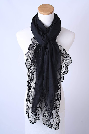 Black Chiffon Scarves Shawls with Lace