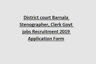 District court Barnala Stenographer, Clerk Govt jobs Recruitment 2019 Application Form