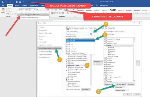 personalizzazione della barra multifunzione di office