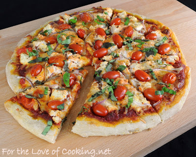 Pizza with Ricotta, Grape Tomatoes, Red Onion, and Fresh Basil