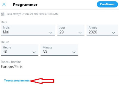 """Après avoir, programmé votre Tweet, vous pourrez le retrouver en cliquant à nouveau sur l'icône """"Calendrier avec horloge"""" sur la box de composition..."""
