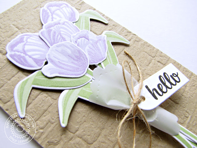 Sunny Studio Stamps: Timeless Tulips Vellum Wrapped Tulip Bouquet Card by Emily Leiphart