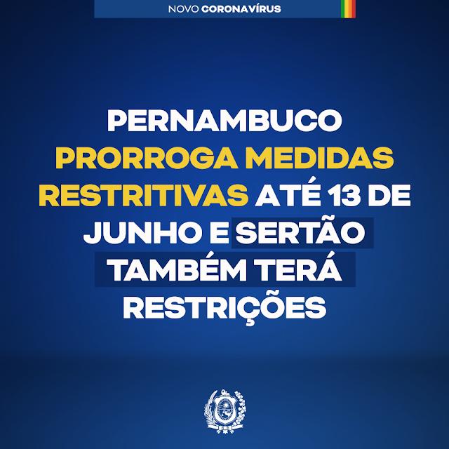 Pernambuco segue com medidas restritivas até 13 de Junho