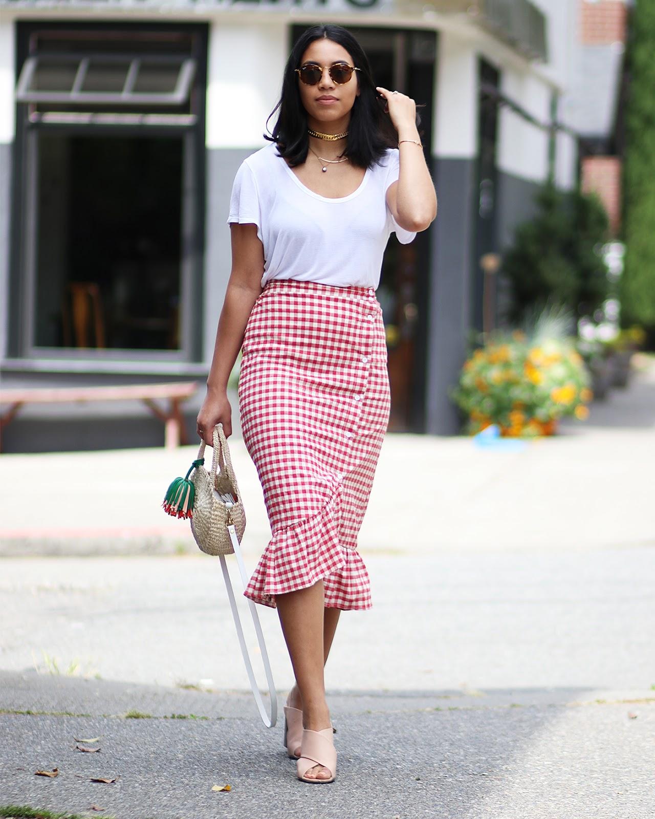 SheIn Gingham Skirt