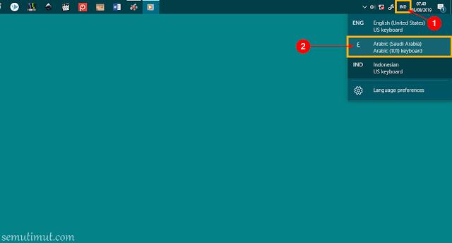 cara menulis arab di word windows 8